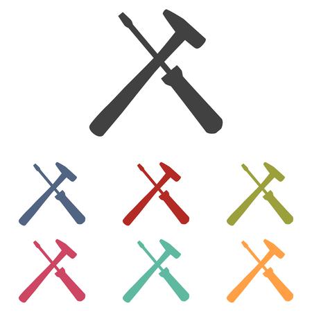 turn screw: Tool icons set isolated on white background