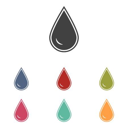 benzine: Drop of water icons set isolated on white background Illustration