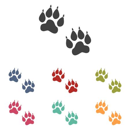 huellas de animales: El animal sigue iconos conjunto aislado sobre fondo blanco Vectores
