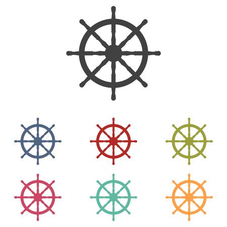 mariner: Ship wheel icons set isolated on white background