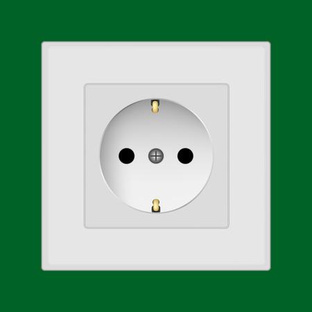 flick: Plastic wall socket detailed vector illustration on green background Illustration