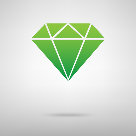 spoil: Diamond green icon with shadow. Vector illustration