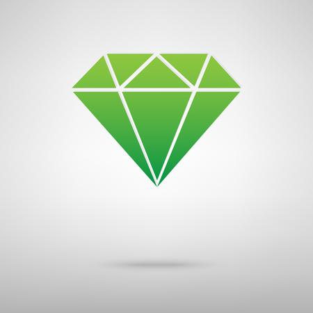Diamond green icon with shadow. Vector illustration