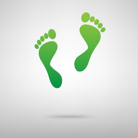 foot prints: foot prints green icon with shadow. Vector illustration Illustration