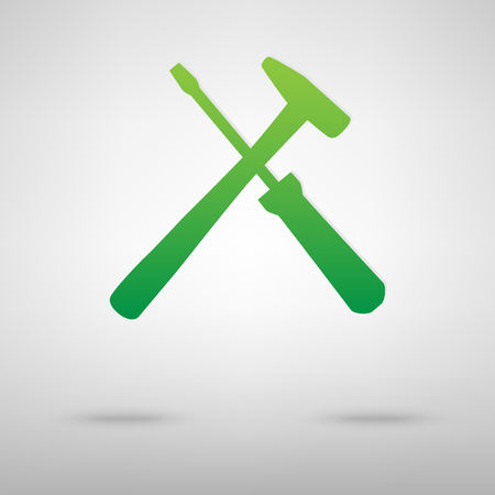 screw key: Tool green icon with shadow. Vector illustration