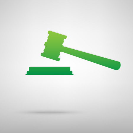 auctioneer: Justice hammer green icon with shadow. Vector illustration