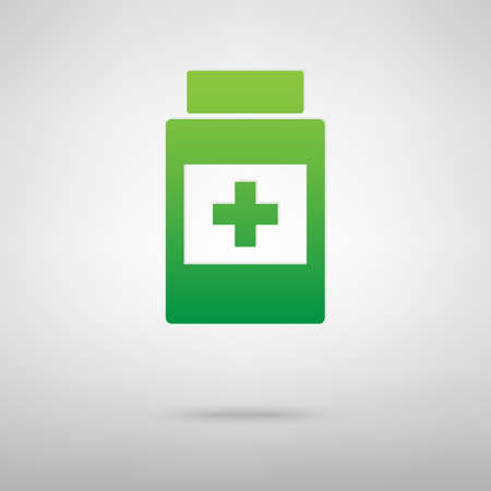 placebo: Medical container green icon with shadow. Vector illustration