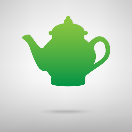 chinese tea pot: Tea maker green icon with shadow. Vector illustration