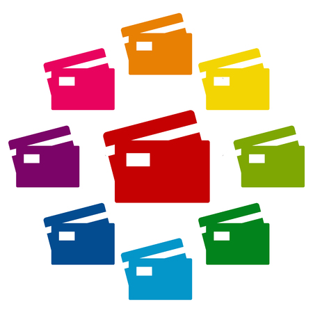 transact: Credit Card icons colorfull set on white background Illustration