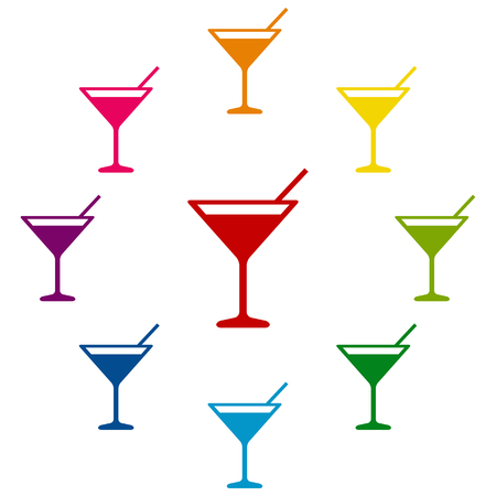 coctail: Coctail icons colorfull set on white background