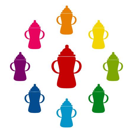teteros: iconos biberón ColorFull establecidos en el fondo blanco Vectores