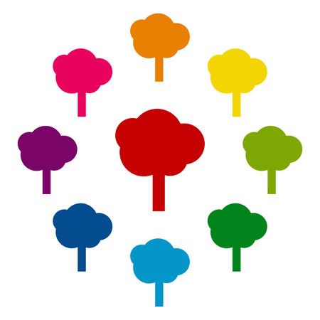 colorfull: Tree icons colorfull set on white background