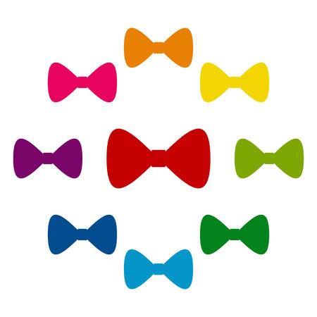 iconos de pajarita ColorFull establecidos en el fondo blanco