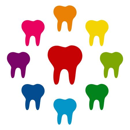toothcare: Tooth icons colorfull set on white background