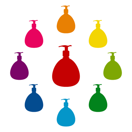 Gel, Foam Or Liquid Soap Dispenser Pump Plastic Bottle silhuette Ilustração Vetorial