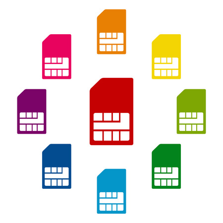 prepaid card: Sim card icons colorfull set on white background Illustration