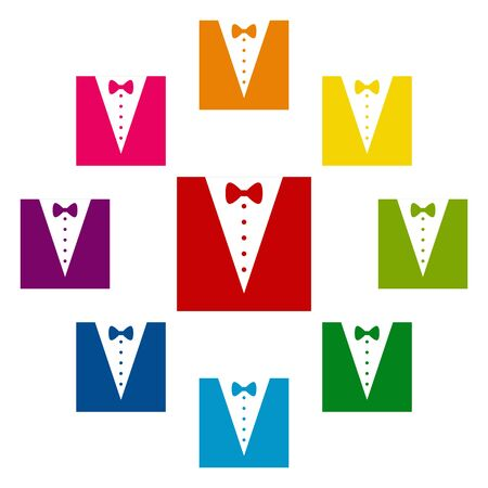 Tuxedo with bow icons colorfull set on white background Иллюстрация
