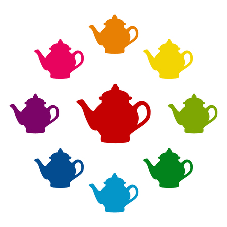 chinese tea pot: Tea maker icons colorfull set on white background