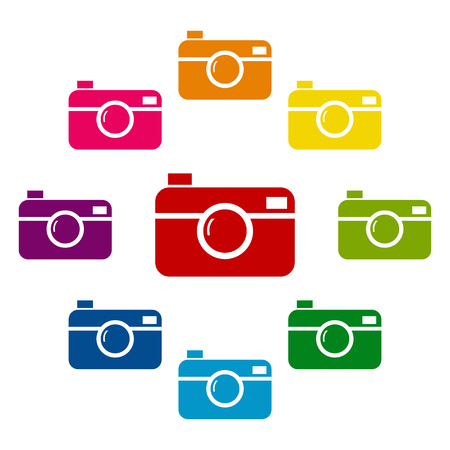 whim of fashion: Digital photo camera icons colorfull set on white background