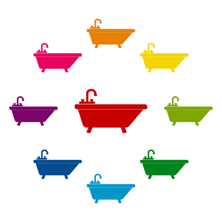 bathtub: Bathtub icons colorfull set on white background Illustration
