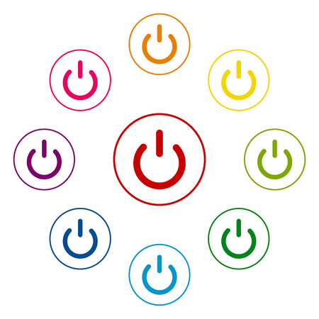 electrical part: On Off switch icons colorfull set on white background