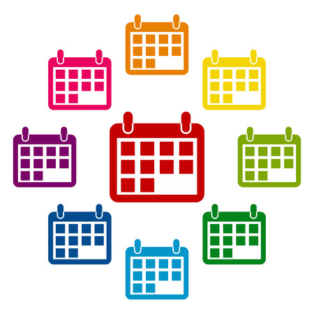 time bound: Calendar icons colorfull set on white background