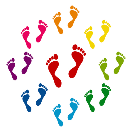 barefoot walking: Foot prints icons colorfull set on white background