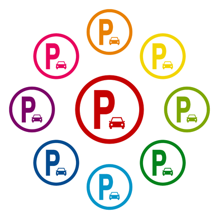 parking is prohibited: Parking sig icons colorfull set on white background