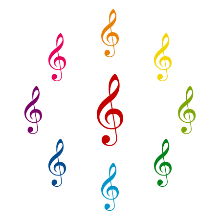 festival scales: Violin clef icons colorfull set on white background