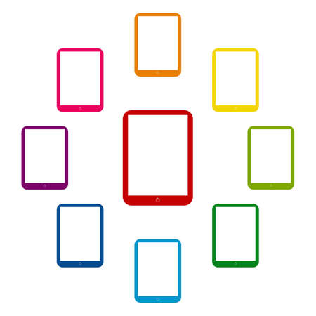 modern palmtop: Computer tablet icons colorfull set on white background