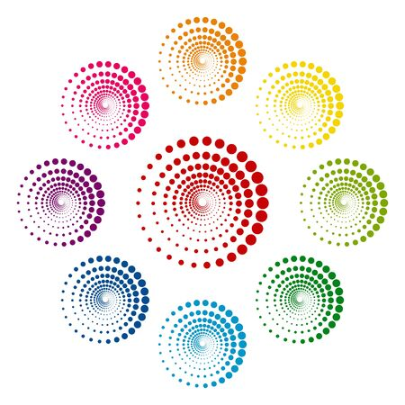 circle design: Abstract technology circles icons colorfull set on white background