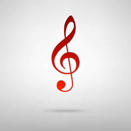 festival scales: Violin clef red icon on the grey background
