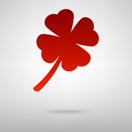 red clover: Leaf clover red icon on the grey background