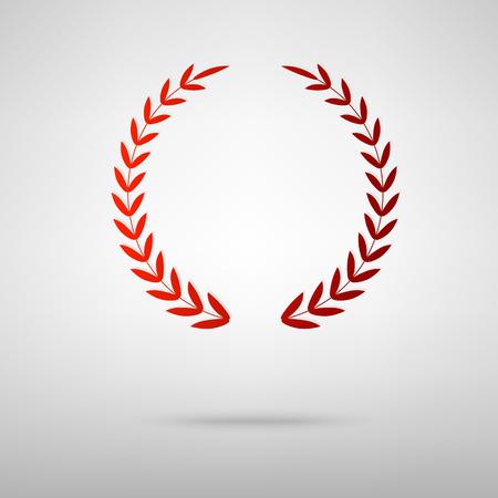 Laurel Wreath red icon on the grey background Ilustracja