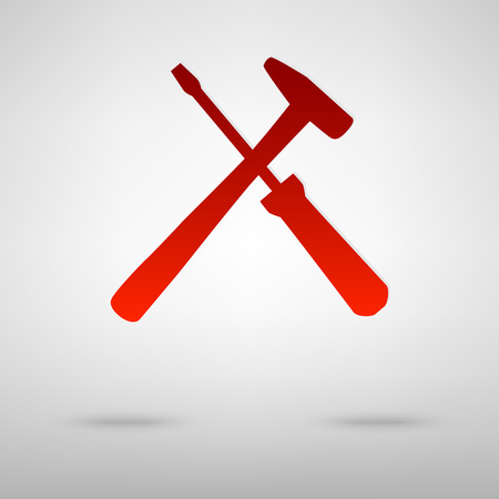 turn screw: Tool red icon on the grey background Illustration