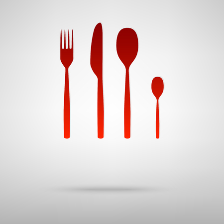 fork and spoon knife: Fork spoon knife red icon on the grey background Illustration
