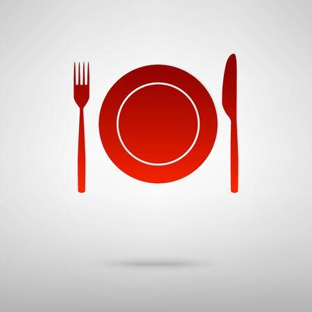 almuerzo: Tenedor y cuchillo icono rojo en el fondo gris