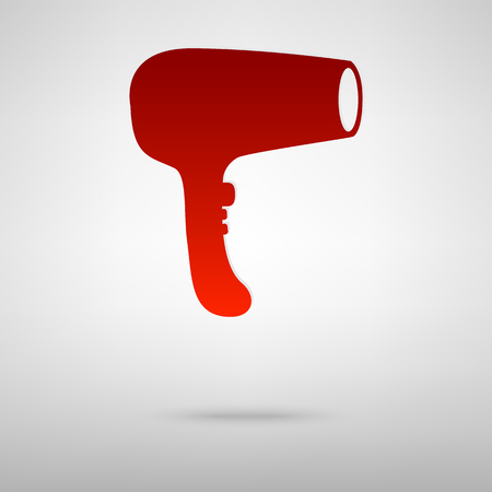 grey hair: Hair Dryer red icon on the grey background