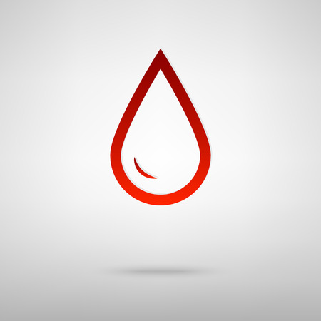 benzine: Drop of water red icon on the grey background