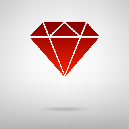 bijou: Diamond red icon on the grey background Illustration