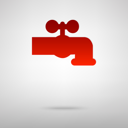 spew: The water faucet red icon on the grey background