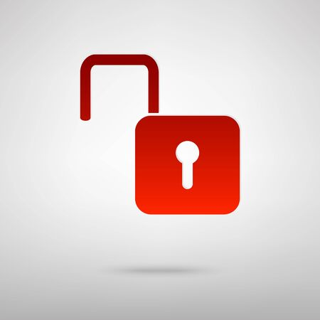 unlock: Unlock red icon on the grey background