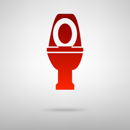 urinate: Toilet red icon on the grey background Illustration