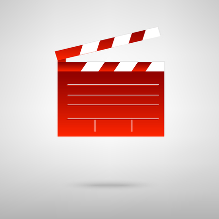 clap: Film clap board cinema red icon on the grey background
