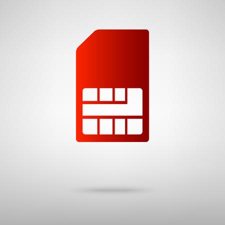 sim card: Sim card red icon on the grey background