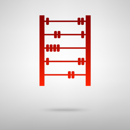 subtract: Old retro abacus red icon on the grey background