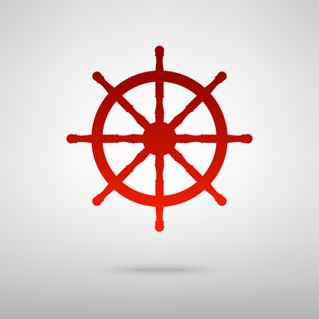 schooner: Ship wheel red icon on the grey background