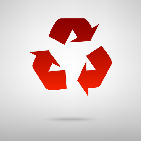recyclable waste: Recycle logo concept red icon on the grey background Illustration