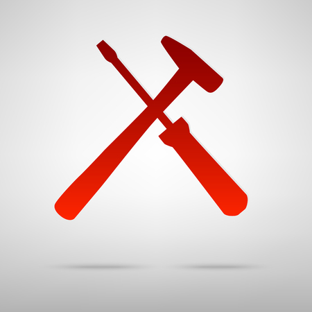 Tool red icon on the grey background Illustration