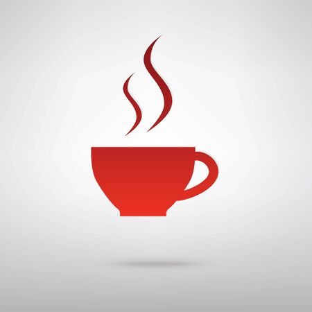 hot beverage: Cup of coffee red icon on the grey background